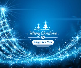 Blue rays christmas tree 02 vector background