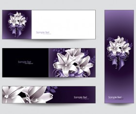 Brilliant flowers with banner background 01