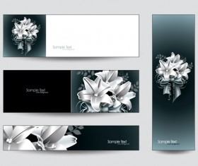 Brilliant flowers with banner background 02