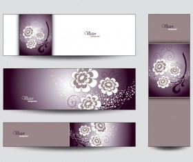 Brilliant flowers with banner background 03