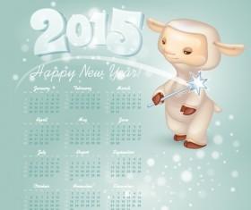 Calendar 2015 and funny sheep vector graphics 01
