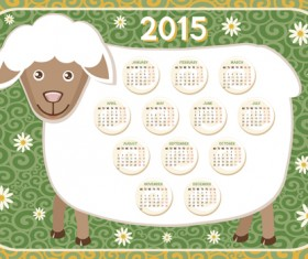 Calendar 2015 and funny sheep vector graphics 03