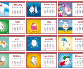 Calendar 2015 and funny sheep vector graphics 04
