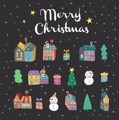 Cartoon Christmas Houses With Night Sky Background Free Download