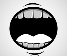 Cartoon mouth and teeth vector set 01