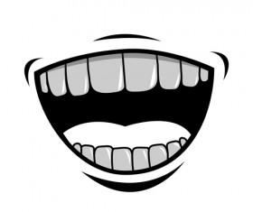 Cartoon mouth and teeth vector set 02