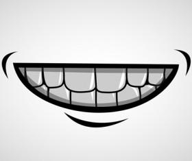 Cartoon mouth and teeth vector set 03