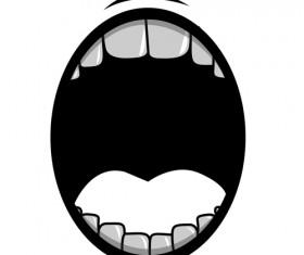 Cartoon mouth and teeth vector set 06