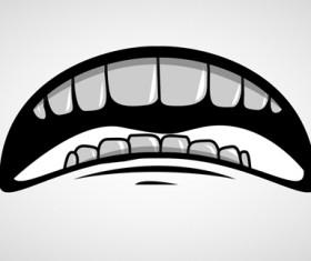 Cartoon mouth and teeth vector set 07