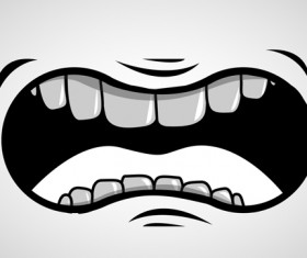 Cartoon mouth and teeth vector set 08