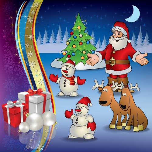Christmas Festival Cartoon Images.Cartoon Santa With Christmas Gift Elements Vector 01 Free