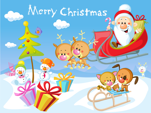 Christmas Festival Cartoon Images.Cartoon Santa With Christmas Gift Elements Vector 02 Free