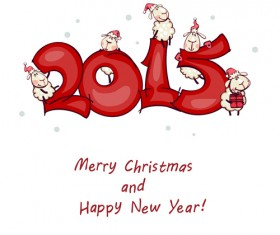 Cartoon sheep 2015 christmas and new year vector background