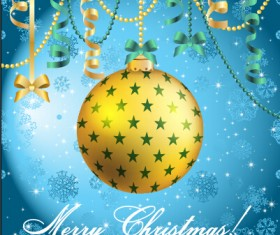 Christmas balls with confetti 2015 new year background vector 01