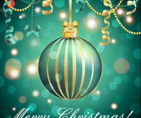 Christmas balls with confetti 2015 new year background vector 02