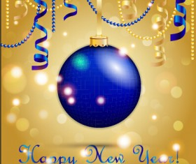 Christmas balls with confetti 2015 new year background vector 04