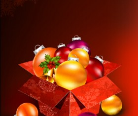 Christmas baubles with gift box vector backgrounds