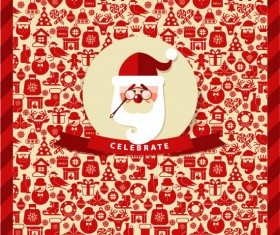 Christmas elements pattern with santa background 01