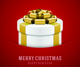 Christmas gift box with red background vector set 01