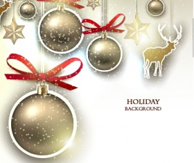 Christmas golden baubles xmas card vector