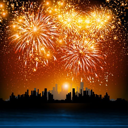 City night with fireworks vector background