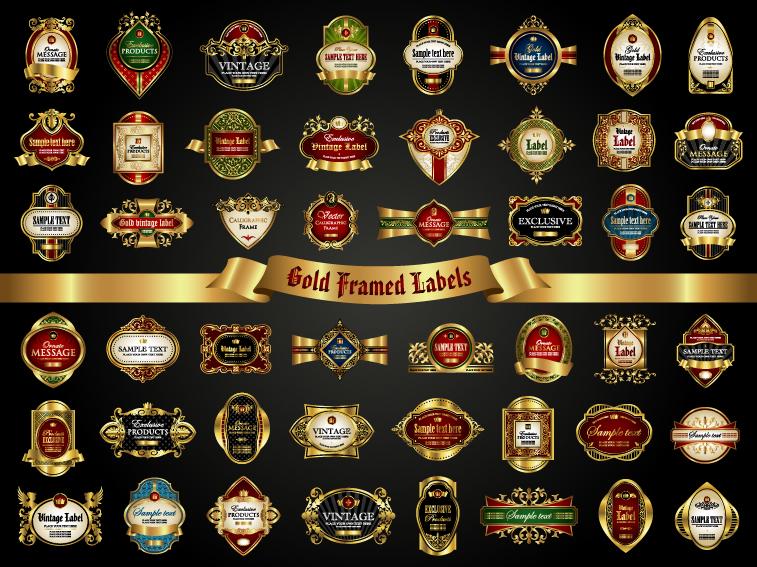 Classical golden labels luxury vector 01