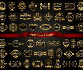 Classical golden labels luxury vector 02