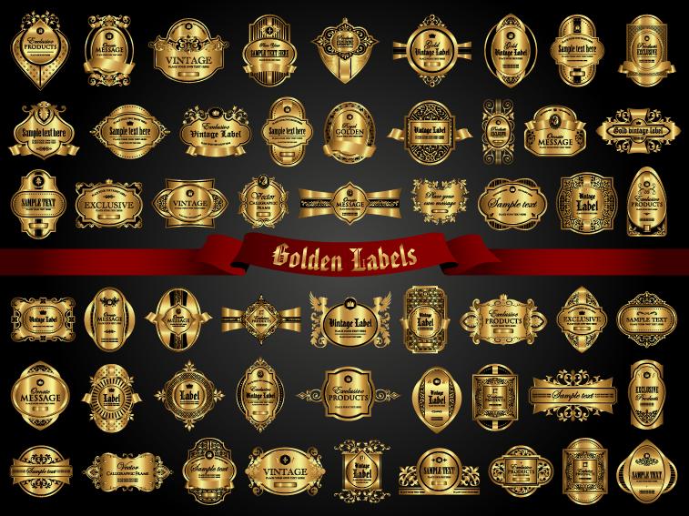 Classical golden labels luxury vector 03