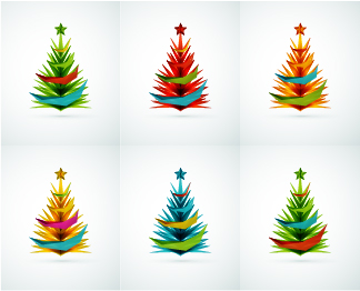 Colored Paper cut christmas tree vector set