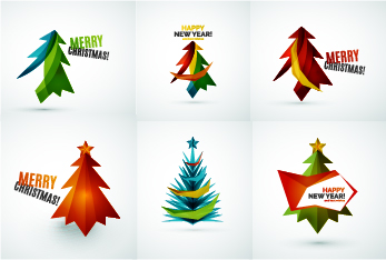 Colored christmas tree with logos vector graphics 01