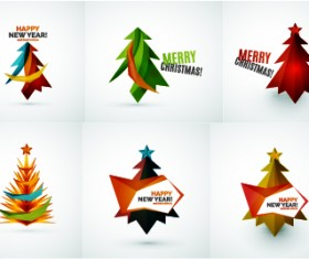 Colored christmas tree with logos vector graphics 02