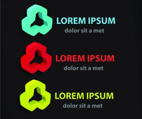 Colored company symbol with logos vector design 03