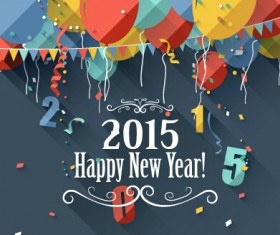 Confetti 2015 new year vintage background vector 01