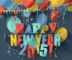 Confetti 2015 new year vintage background vector 02