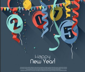 Confetti with balloon 2015 new year background vector