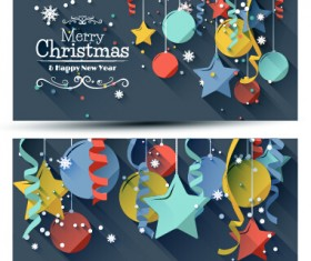 Confetti with balloon christmas banners vector 02