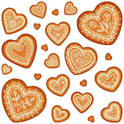 Cookie heart vector seamless pattern