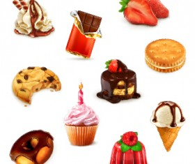 Cookies with sweets and cake vector icons set 02