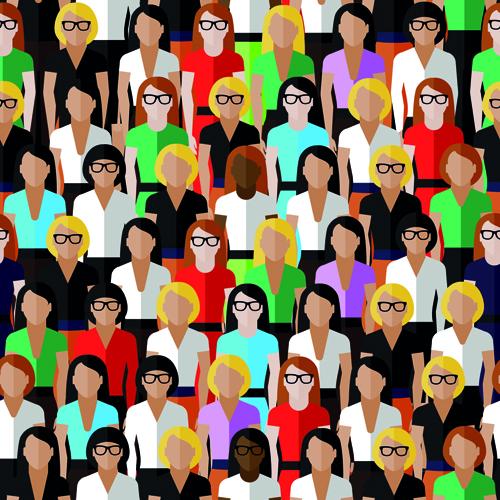 Creative business people seamless pattern 01