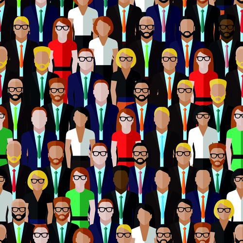 Creative business people seamless pattern 02