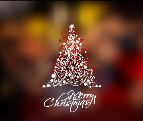Creative christmas tree blurs background graphics vector 01