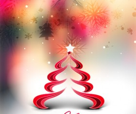 Creative christmas tree blurs background graphics vector 03