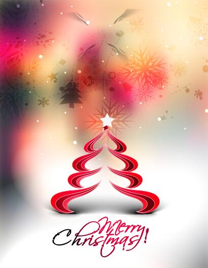 Creative christmas tree blurs background graphics vector 03