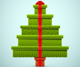 Creative christmas tree gift vector graphics