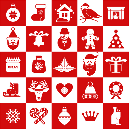 Creative red and white christmas icons