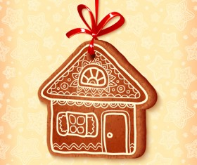 Cute cookie christmas ornament vector 01