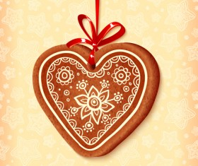 Cute cookie christmas ornament vector 02