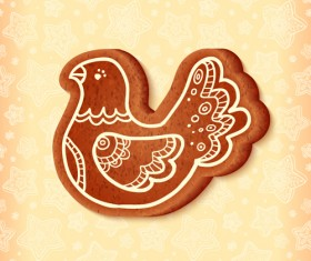 Cute cookie christmas ornament vector 03
