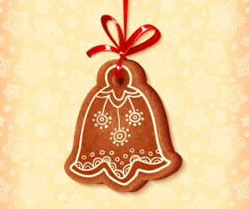 Cute cookie christmas ornament vector 04