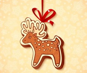 Cute cookie christmas ornament vector 06